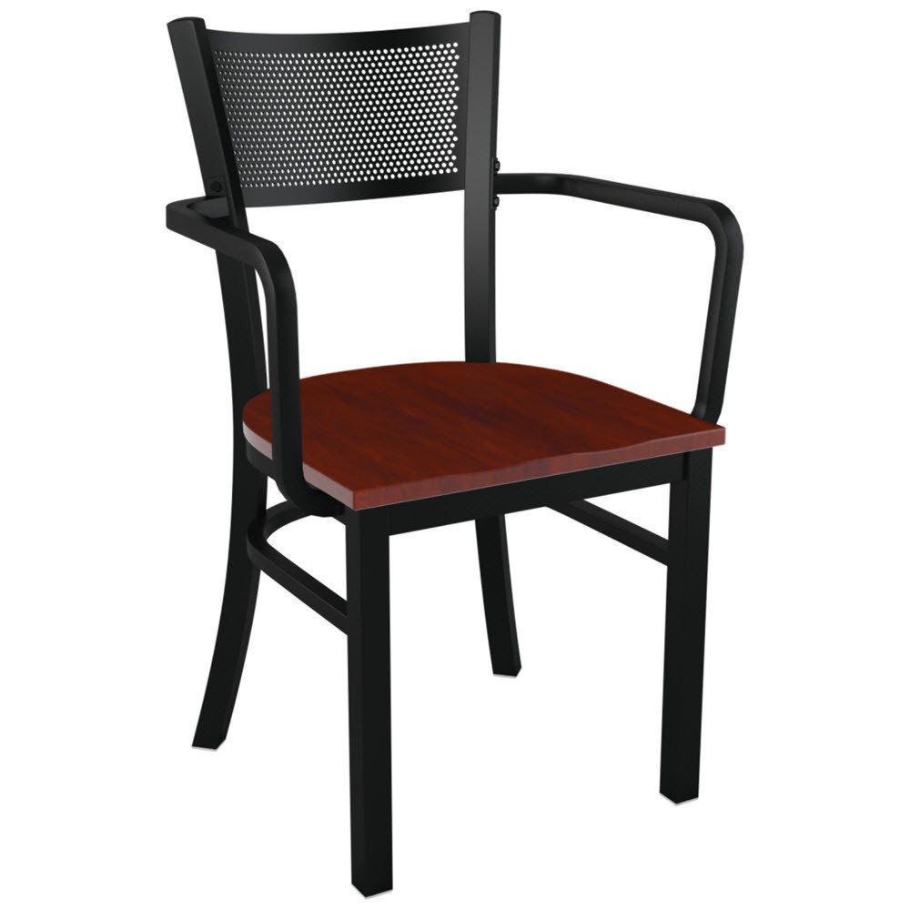 Metal Checker Back Restaurant Chair With Arms