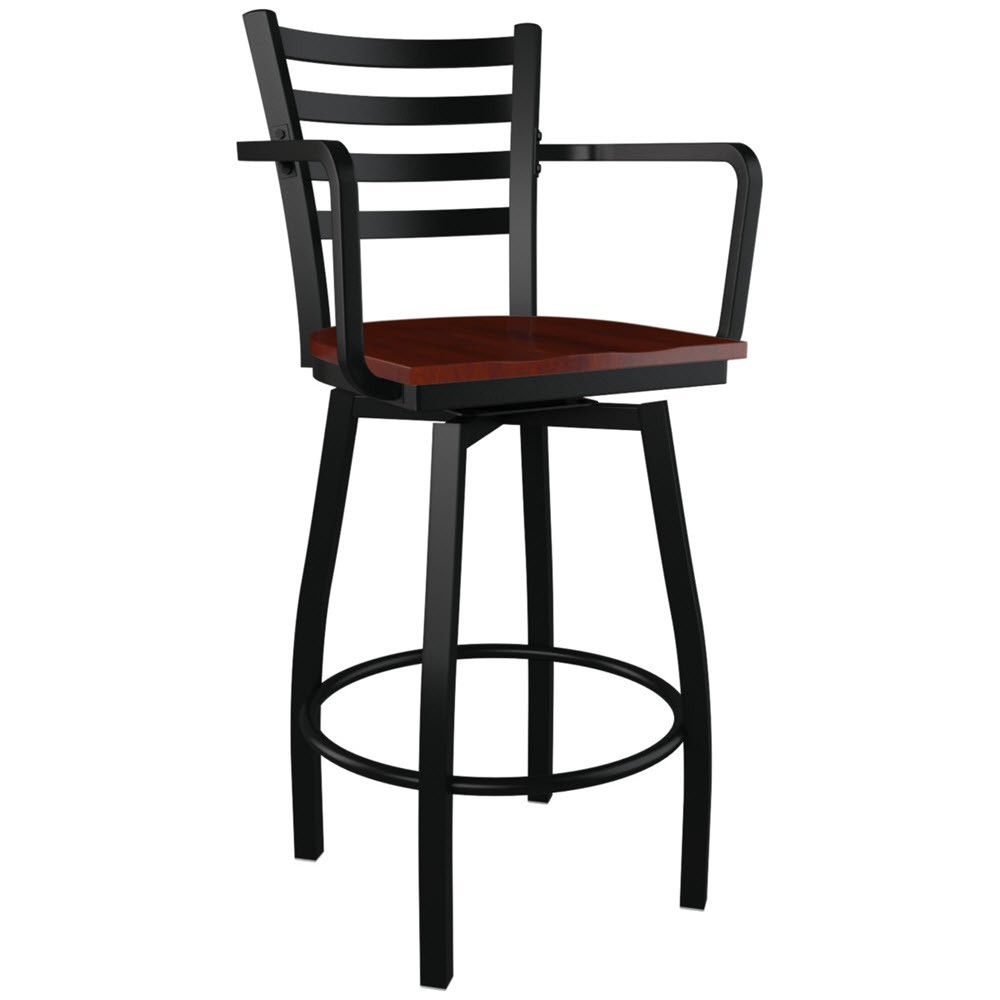 Swivel ladder back metal bar stool with arms for Bar stools with arms