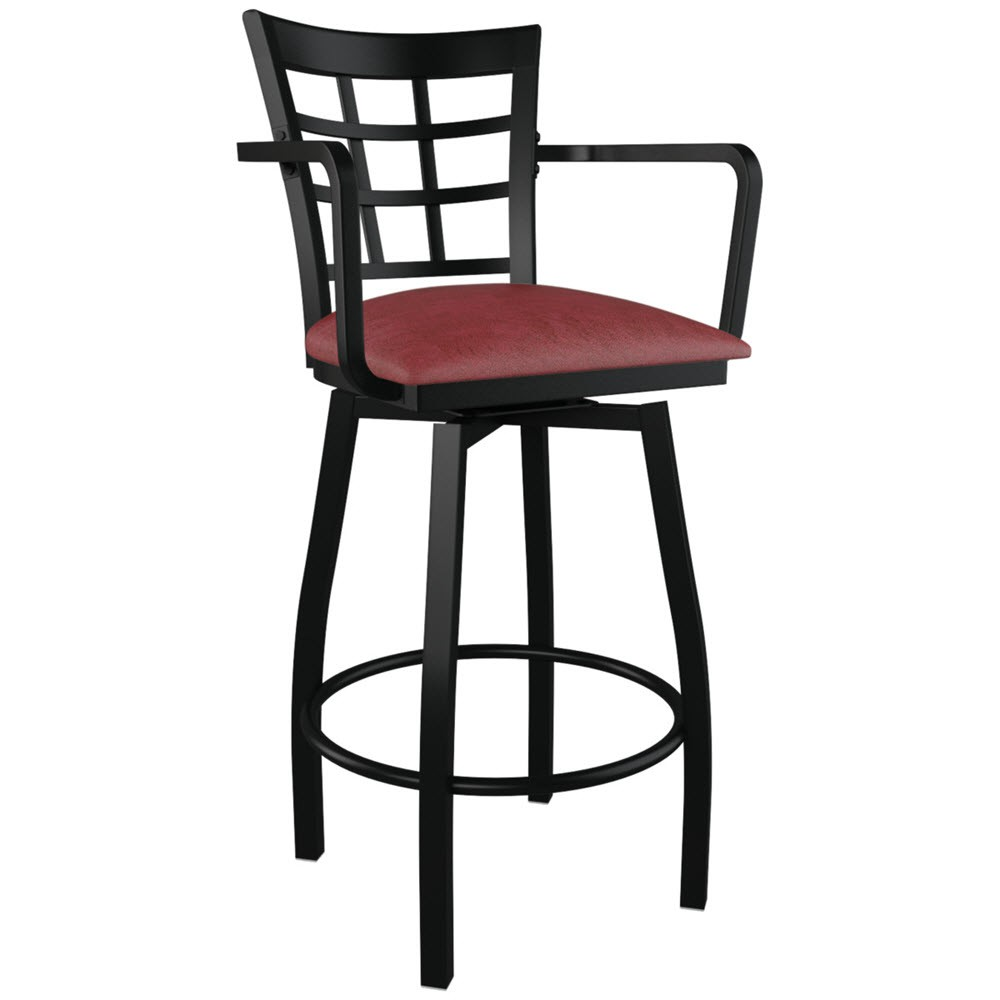 Window Back Swivel Bar Stool With Arms