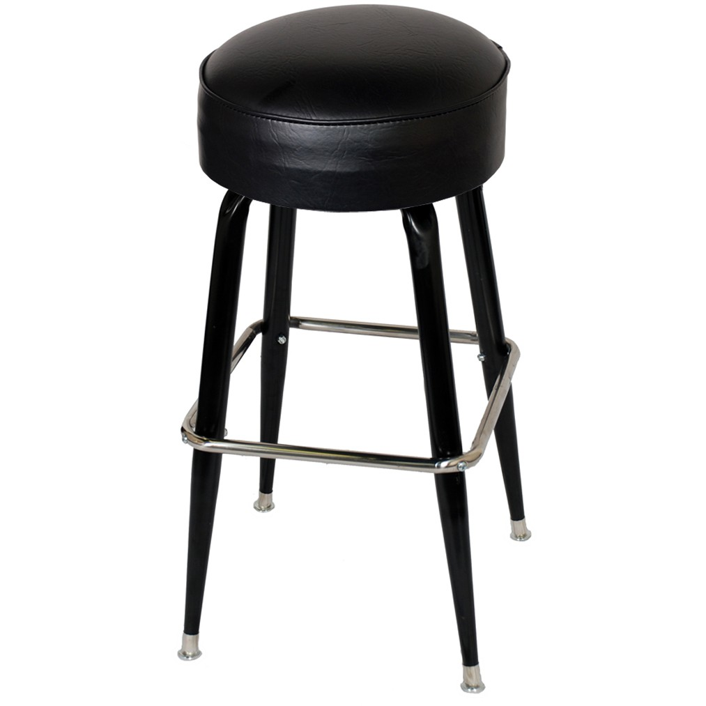 Backless Swivel Bar Stool With Footrest
