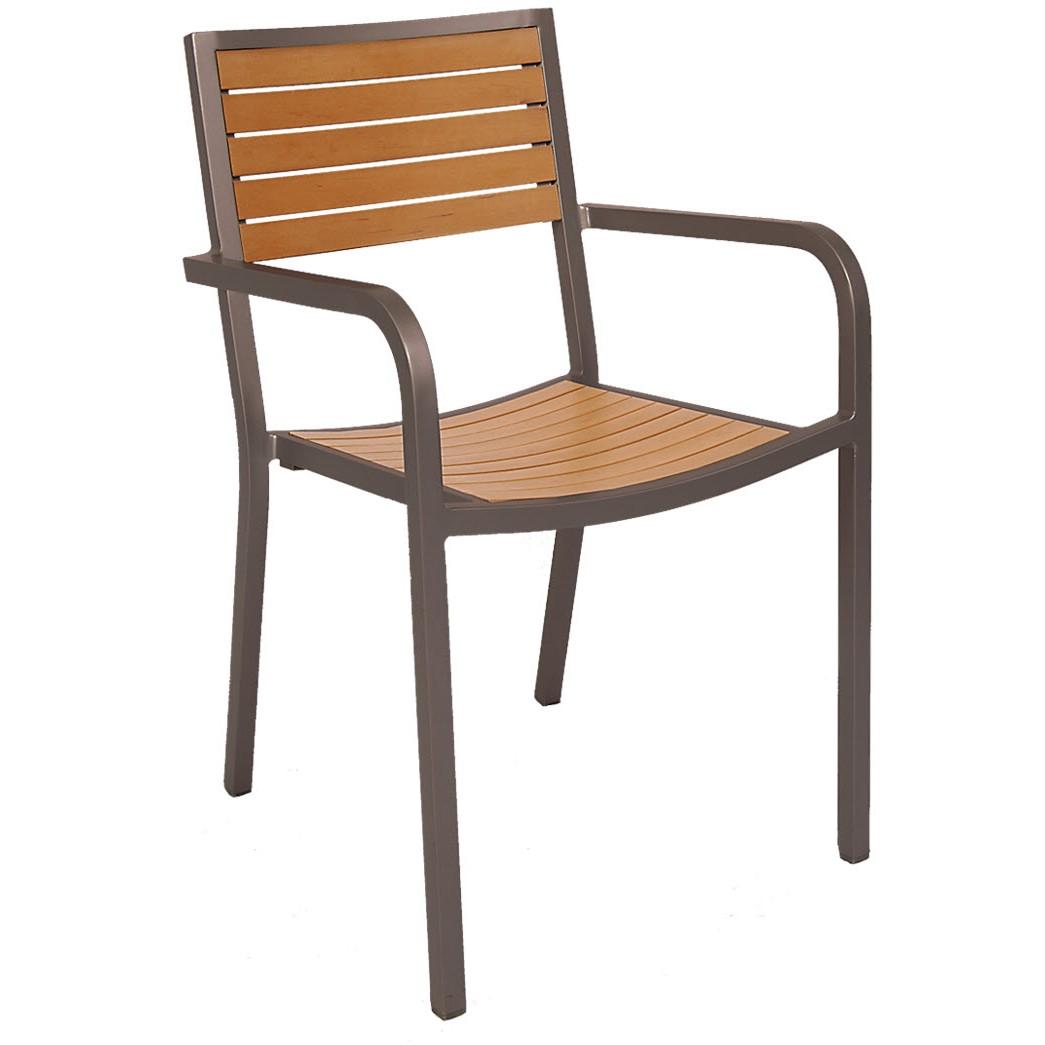 Aluminum rust colored patio arm chair with plastic teak