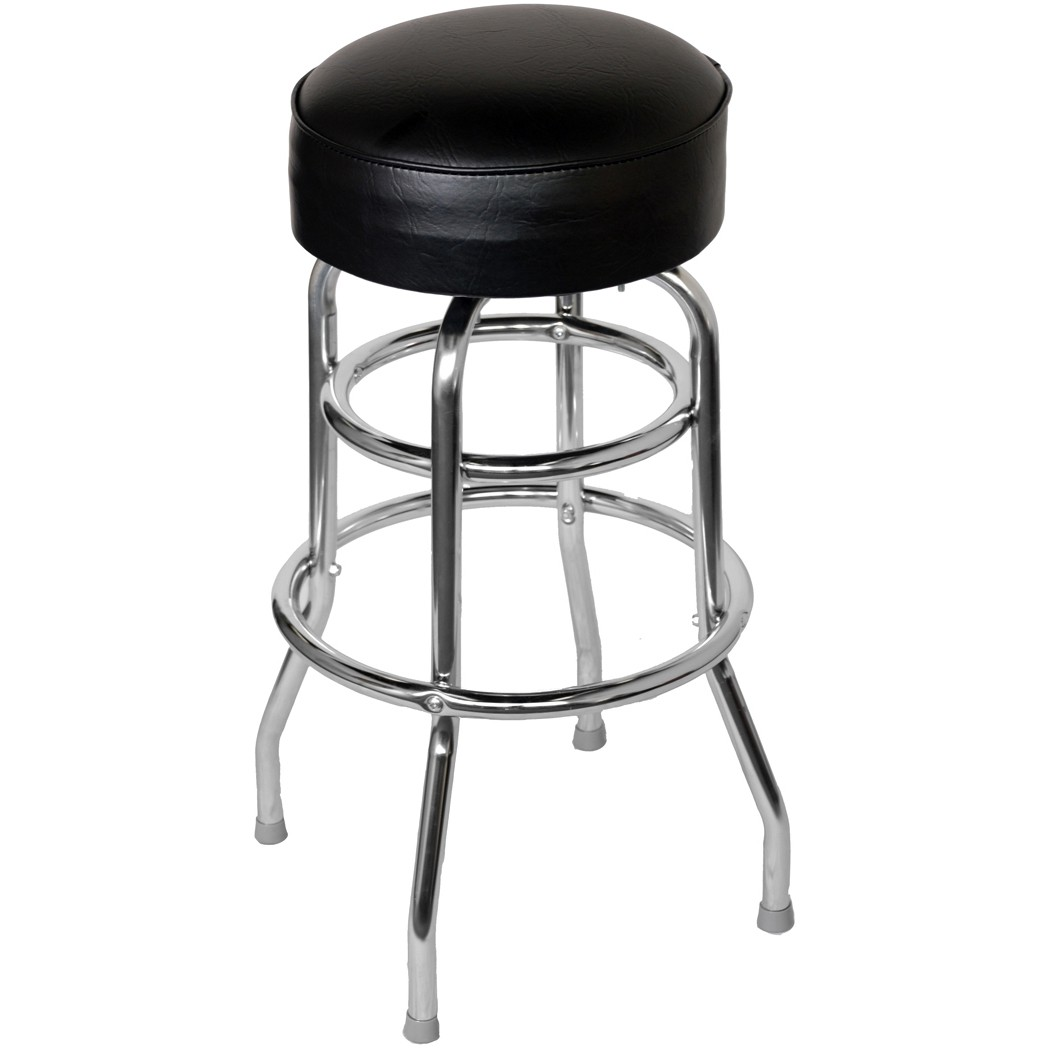 Chrome Bar Stool With A Single Double Ring