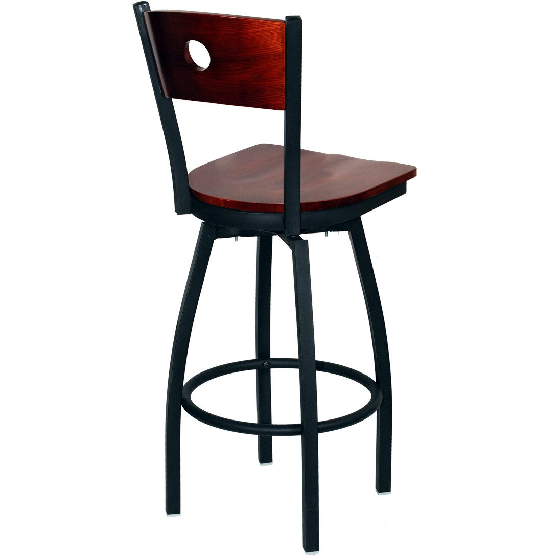 Interchangeable back metal swivel bar stool with a circled for Counter stools with backs