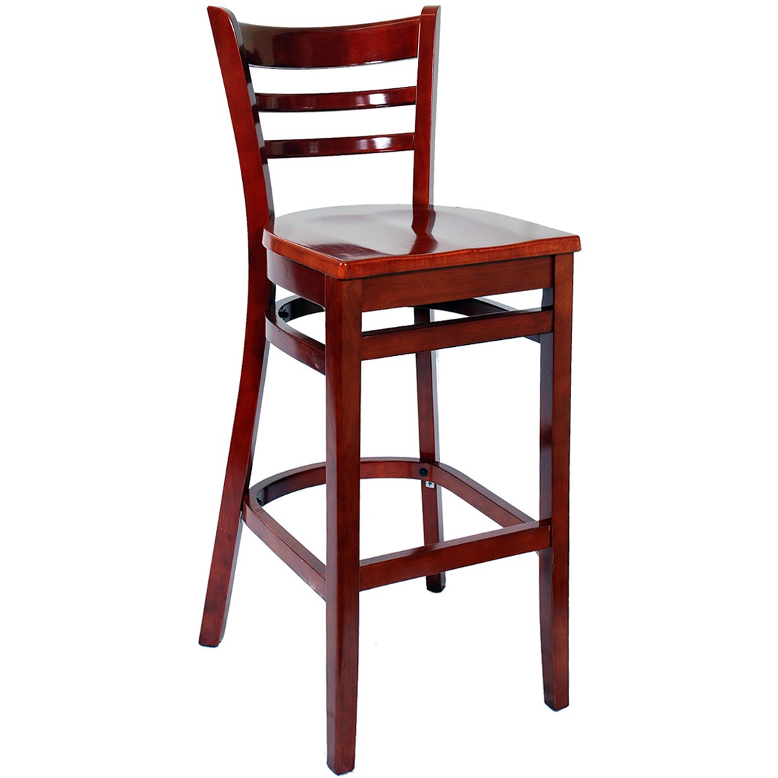 Wood restaurant furniture -  Ladder Back Bar Stool Mahogany Finish With A Wood Seat
