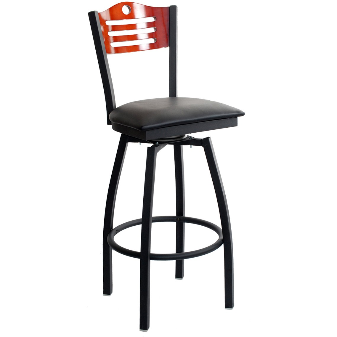 Swivel Bar Stool With A Wood Back Circle Amp 3 Slats