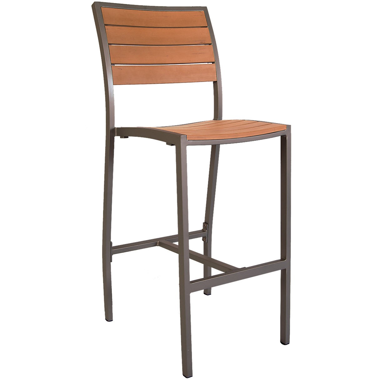 aluminum rust colored patio bar stool with plastic teak. Black Bedroom Furniture Sets. Home Design Ideas