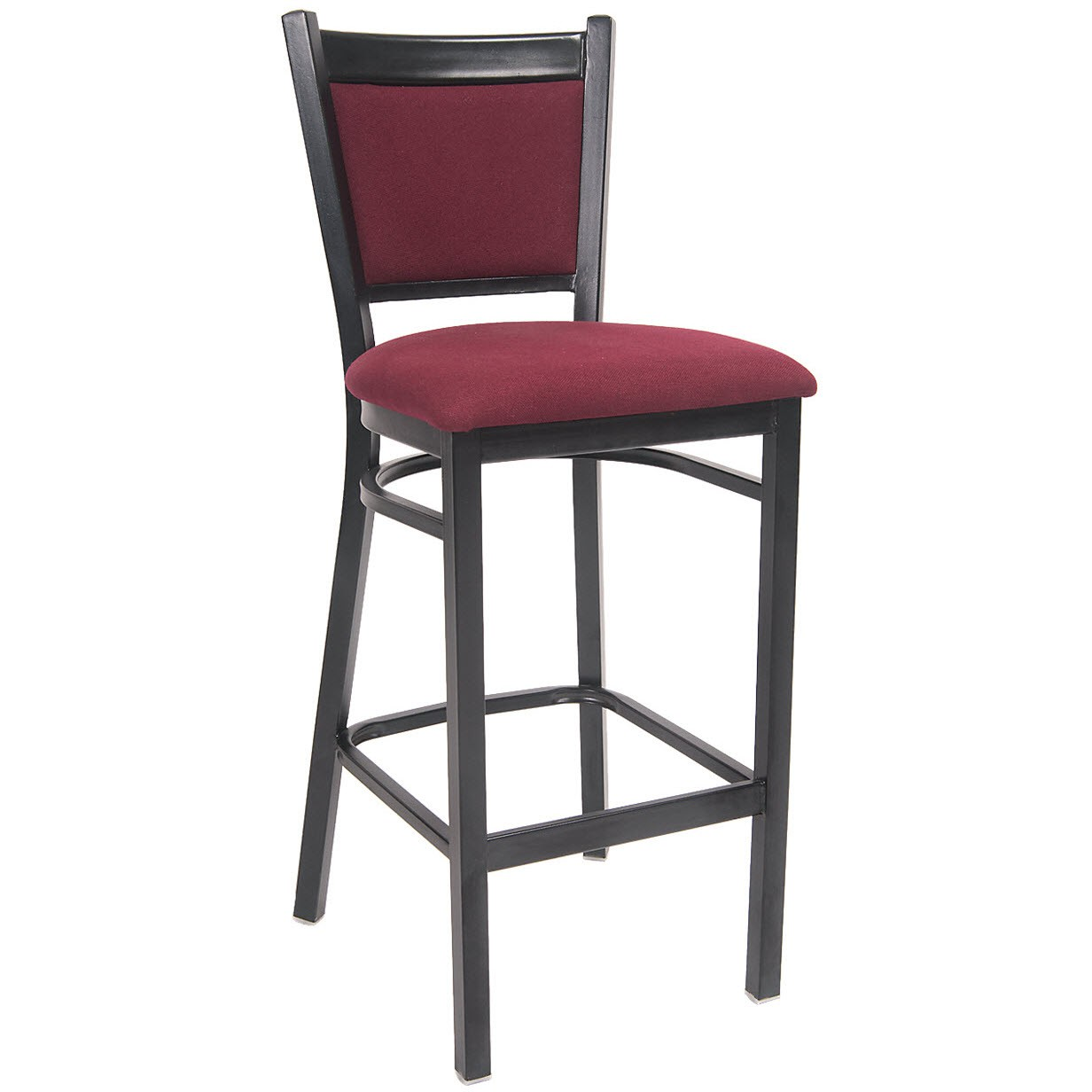 Black Metal Bar Stool With Burgundy Fabric Seat And Back