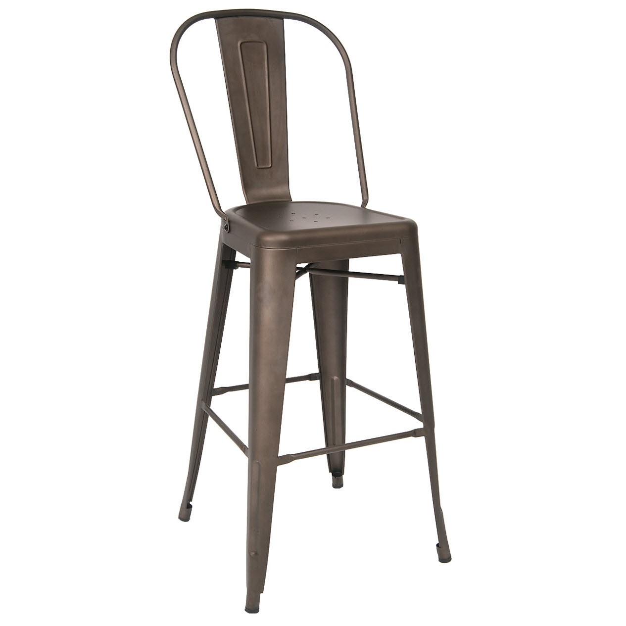 Bistro Style Metal Bar Stool In Dark Grey Finish
