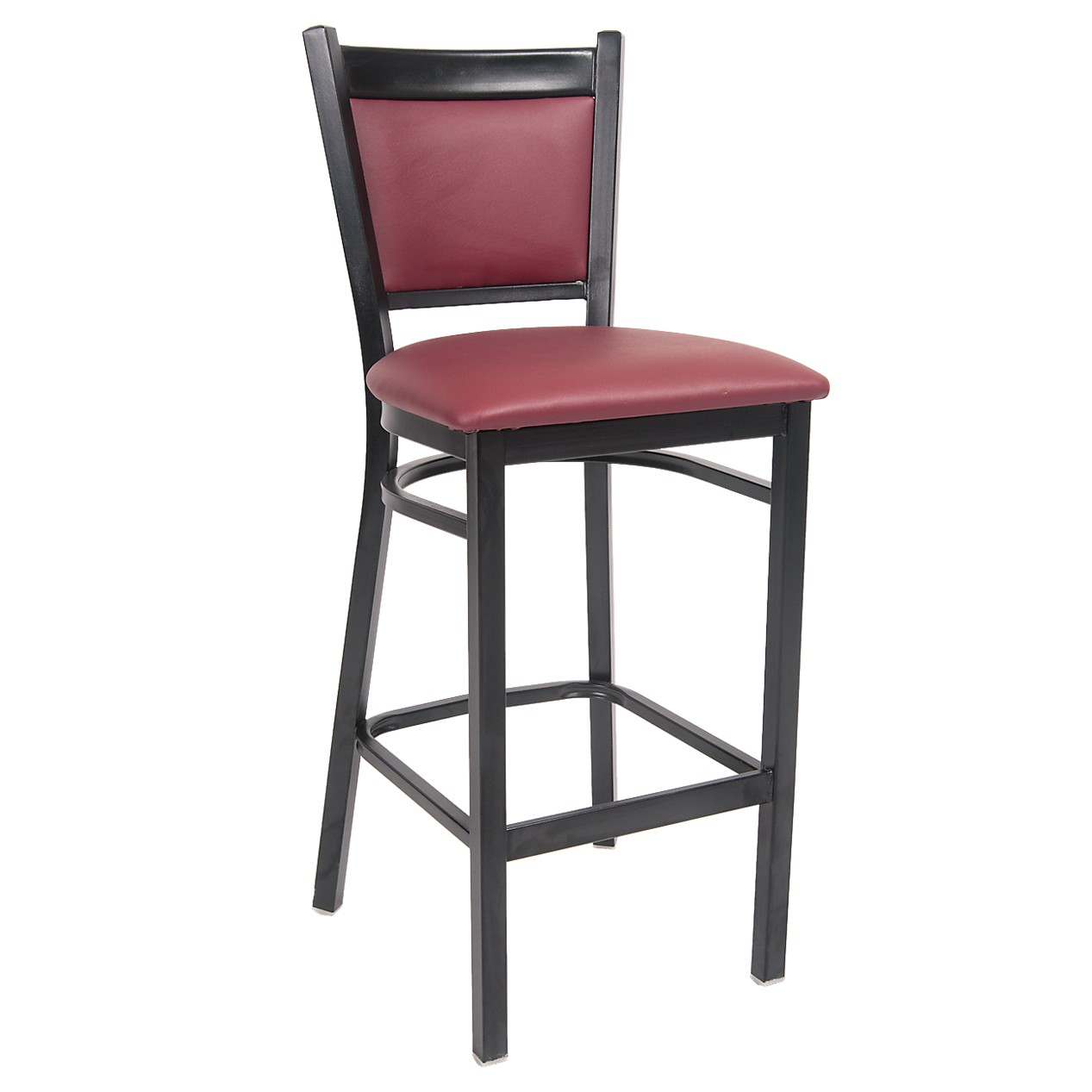 Black Metal Bar Stool With Burgundy Vinyl Seat And Back