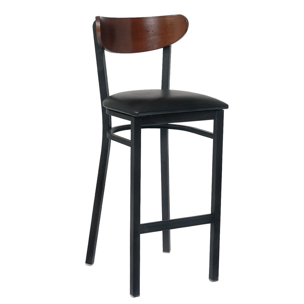 Enjoyable Walnut Moon Back Metal Bar Stool With Veneer Seat Creativecarmelina Interior Chair Design Creativecarmelinacom