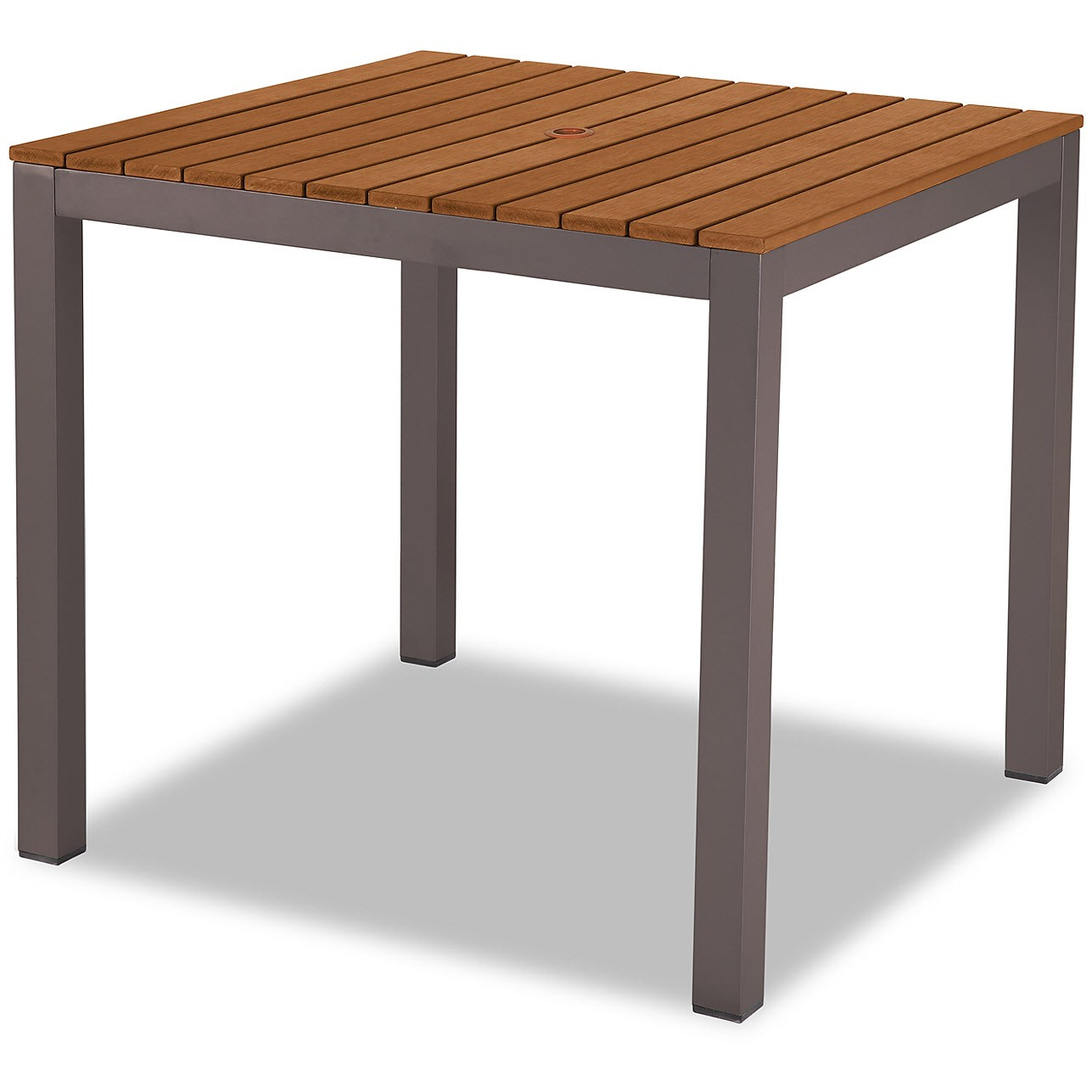 Aluminum Patio Table In Rust Color Finish With Plastic