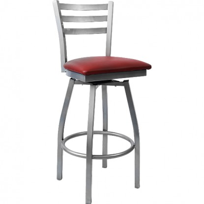 3 Slat Metal Ladder Back Swivel Bar Stool