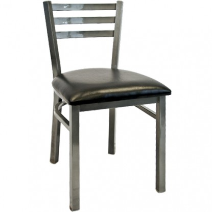 Light Silver Metal Ladder Back Chair