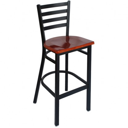 Ladder Back Metal Bar Stool - Black Frame with a Mahogany Wood Seat