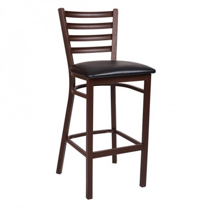 Ladder Back Brown Metal Bar Stool