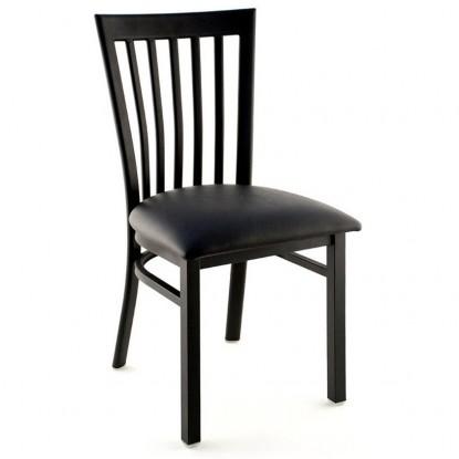 Elongated Vertical Slat Back Metal Chair - Black Finish with a Black Vinyl Seat