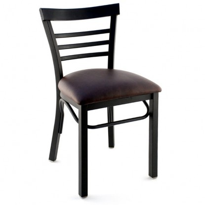 Rounded Ladder Back Metal Restaurant Chair - Black Finish with a Buckskin Vinyl Seat
