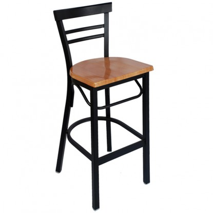 Rounded Ladder Back Metal Bar Stool - Black Frame with a Natural Seat