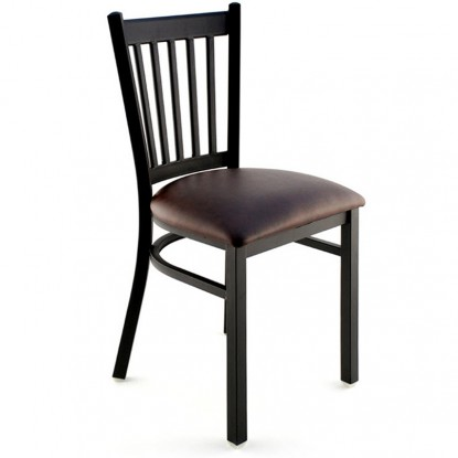 Metal Vertical Slat Restaurant Chair - Black Finish with a Buckskin Vinyl Seat