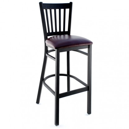 Vertical Slat Metal Bar Stool - Black Frame with a Wine Vinyl Seat