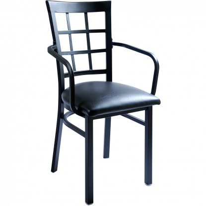 Window Back Metal Chair with Arms - Black Frame with a Black Vinyl Seat