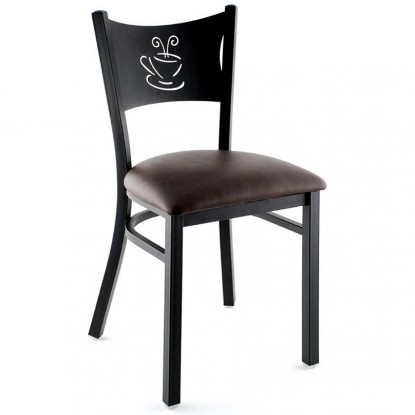 Metal Coffee Cup Restaurant Chair - Black Frame with a Wine Vinyl Seat