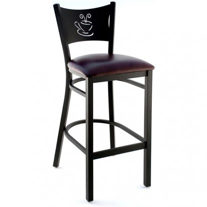 Coffee Cup Metal Bar Stool - Black Frame with a Wine Vinyl Seat