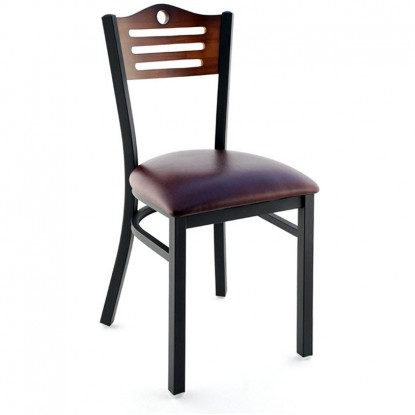 Interchangeable Back Metal Restaurant Chair with Slats & Circle