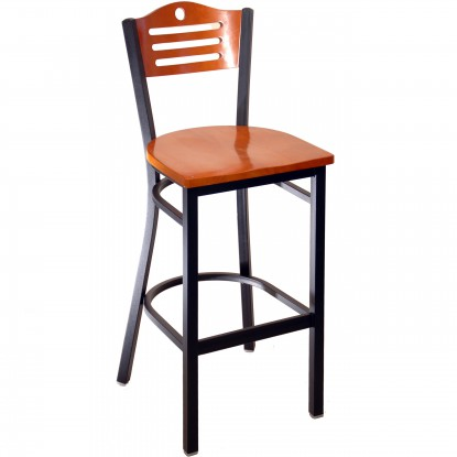 Interchangeable Back Metal Bar Stool with Slats & Circle - Black Finish with a Cherry Wood Back and Seat
