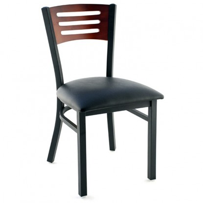 Interchangeable Back Metal Restaurant Chair with 3 Slats