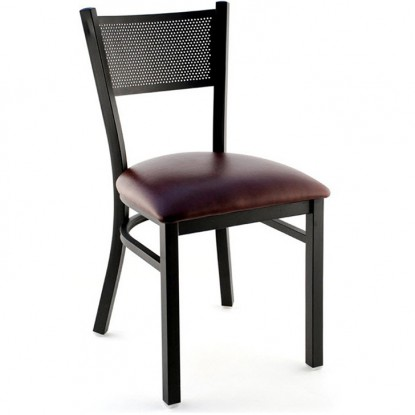 Metal Checker Back Restaurant Chair - Black Finish with a Wine Vinyl Seat