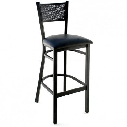 Metal Checker Back Bar Stool - Black Frame with a Black Vinyl Seat