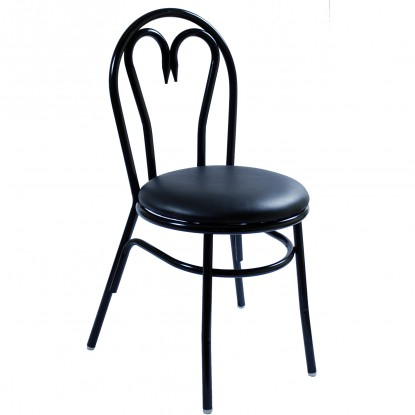 Heart Metal Restaurant Chair with Black Vinyl Seat