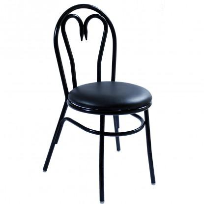 Heart Metal Restaurant Chair with Black Vinyl Seat