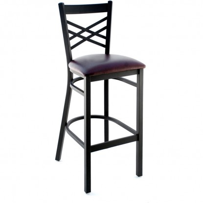X Back Metal Bar Stool - Black Frame with a Wine Vinyl Seat