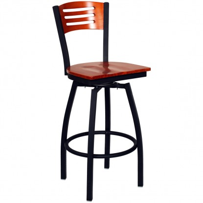 Swivel Bar Stool with a Wood Back - 3 Slats