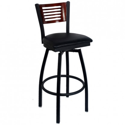 Swivel Bar Stool with a Wood Back - 5 Slats