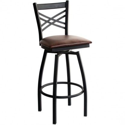 Swivel X Back Metal Bar Stool