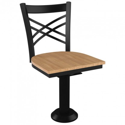 X Back Bolt Down Swivel Metal Chair