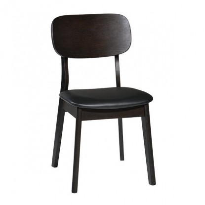 Dark Walnut Wood Chair with Black Vinyl Seat