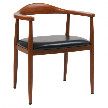 Wood Grain Metal Arm Chair in Walnut Finish with Black Vinyl Seat