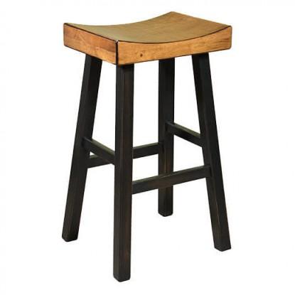 Backless Wood Saddle Bar Stool