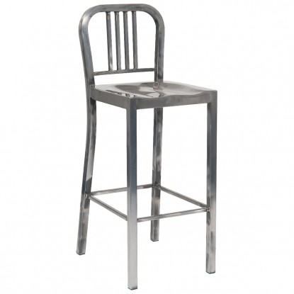 Indoor Metal Restaurant Bar Stool in Clear Finish