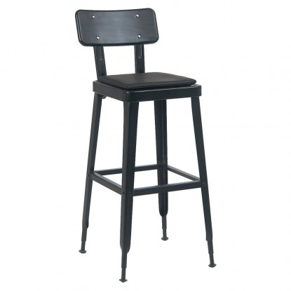 Laurie Bistro-Style Metal Bar Stool in Black Finish