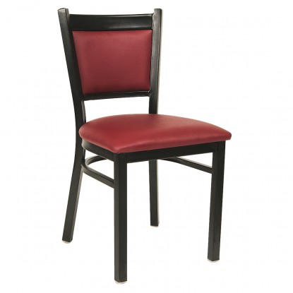 Black Metal Chair with Burgundy Vinyl Seat and Back