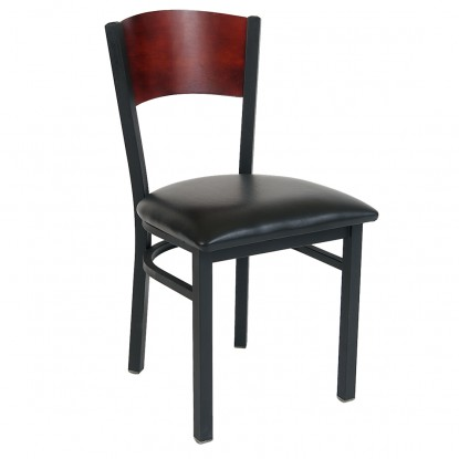 Interchangeable Back Metal Chair with Solid  Back