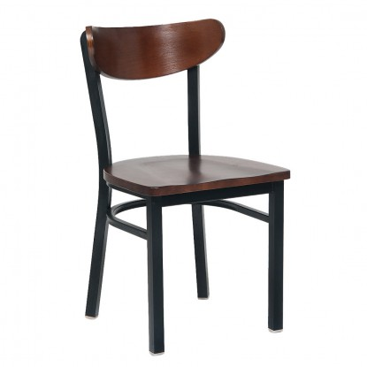 Walnut Moon Back Metal Chair with Veneer Seat