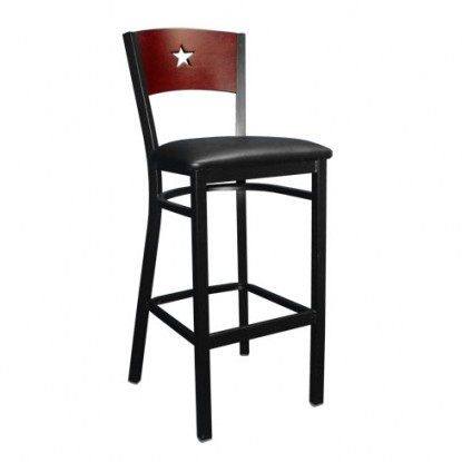 Interchangeable Back Metal Bar Stool with a Star in the Back
