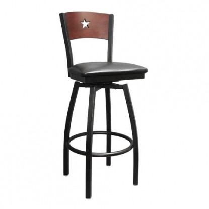 Interchangeable Back Metal Swivel Bar Stool with a Star in the Back