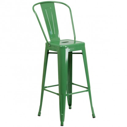 Green Bistro Style Metal Bar Stool